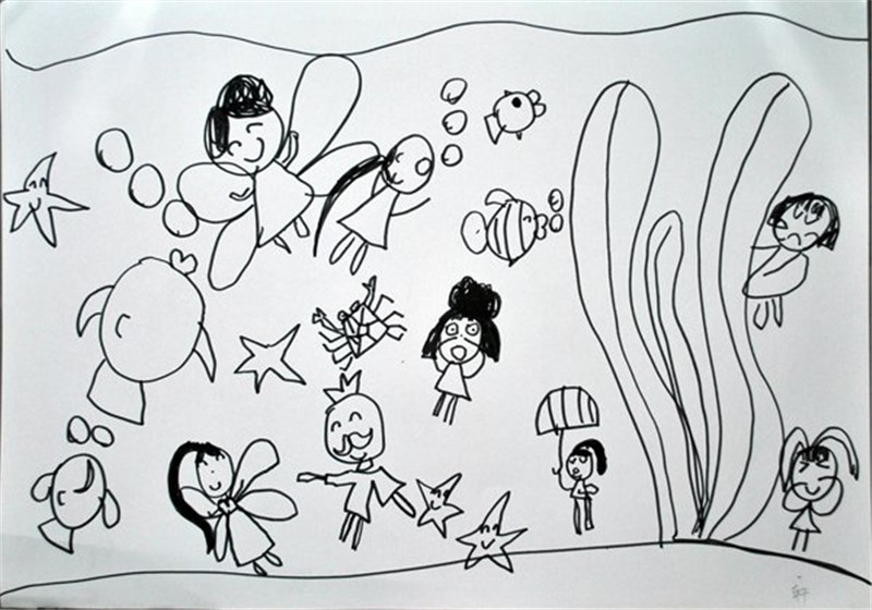 分享:一组幼儿创意黑白画画!