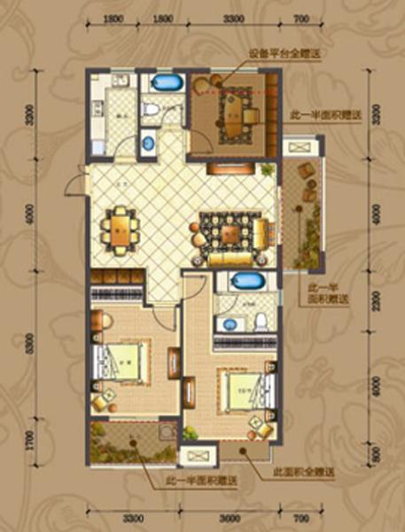 豪华三房开间,南北通透,高采光率,高得房率,两室朝南,主卧套房设计,带