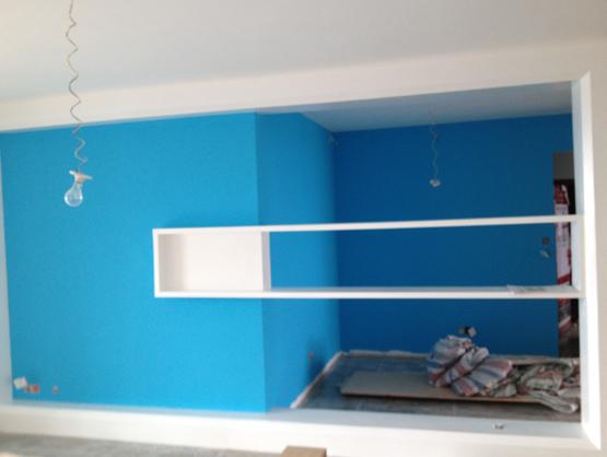 进门玄关隔断油漆效果,搭配蓝色妖艳乳胶漆感觉很亮堂哦