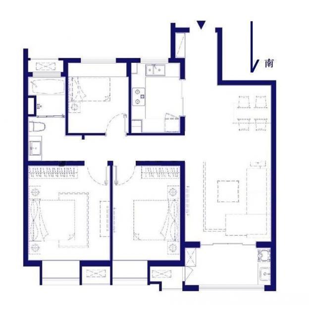 江宁区百家湖万科金域蓝湾3室2厅户型图