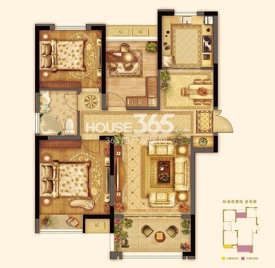 七里香都A1三室两厅一卫约105平
