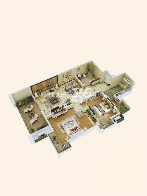 阳光城西西里B2户型立体图2室2厅1卫1厨 98.00㎡