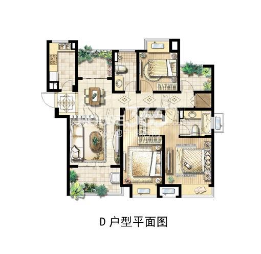 绿地中央广场D户型平面图