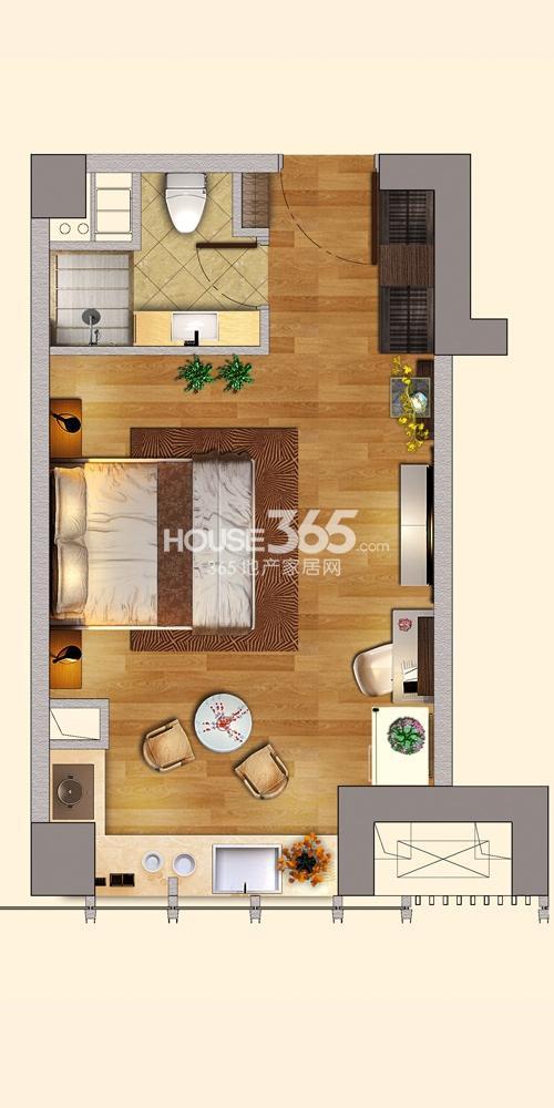 C区A栋B户型 47平方米(9.3)