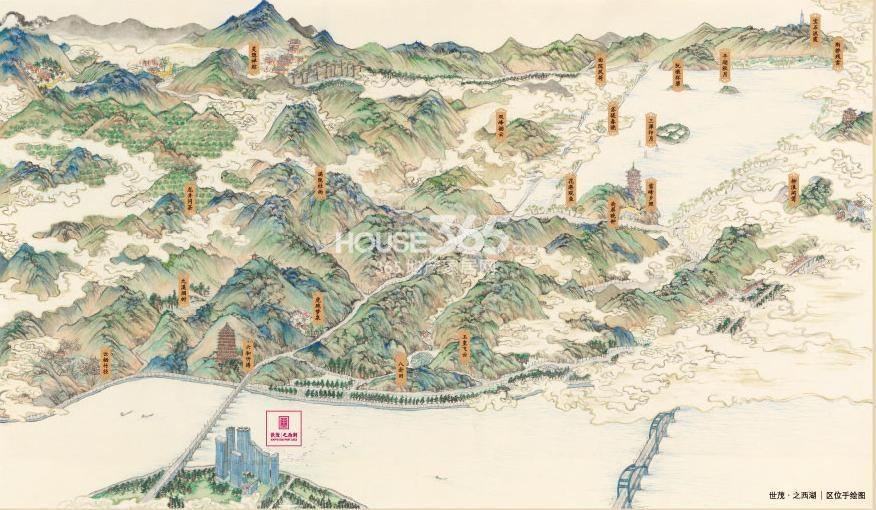 西湖地图手绘 全景