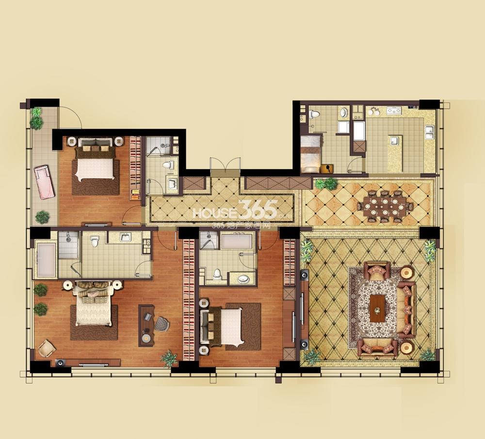 远洋国际中心1期3号楼标准层G1户型图 3室2厅2卫1厨(10.29)