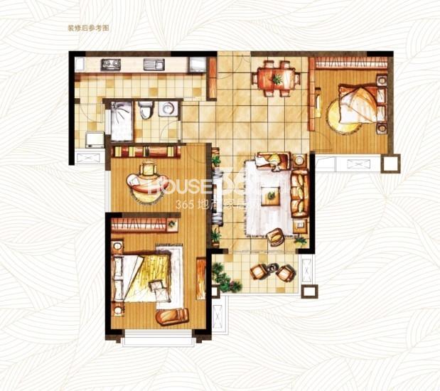 御湖湾D2-2户型 三室两厅一卫 95平