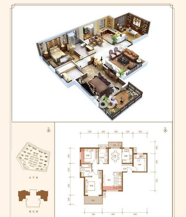 紫薇花园洲114平A户型3室2厅2卫1厨 114.00㎡