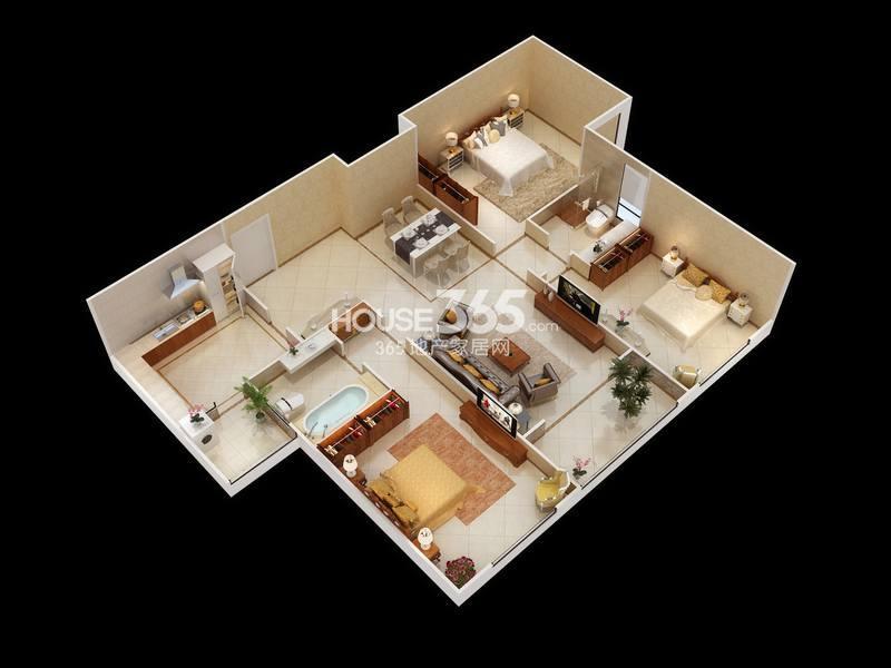 白桦林明天C户型三室两厅两卫 133㎡