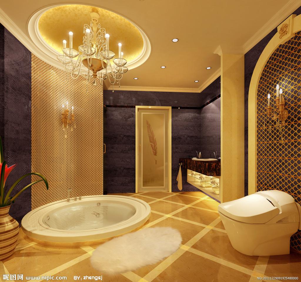 欧式卫生间; 小洗手间装修效果图1; 湖畔天下别墅室内图