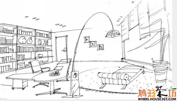 书房设计手绘效果图(九)