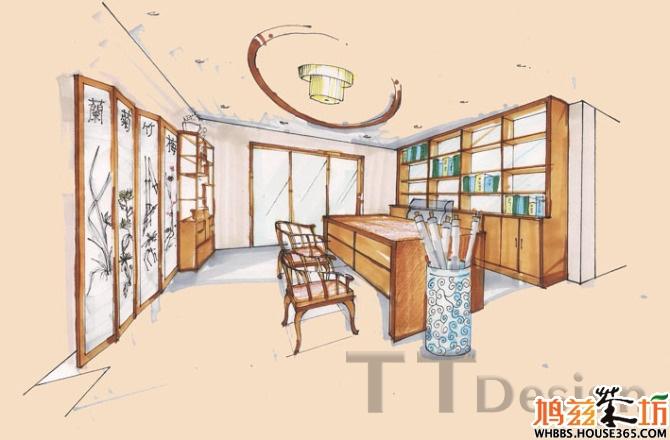 书房设计手绘效果图(五)