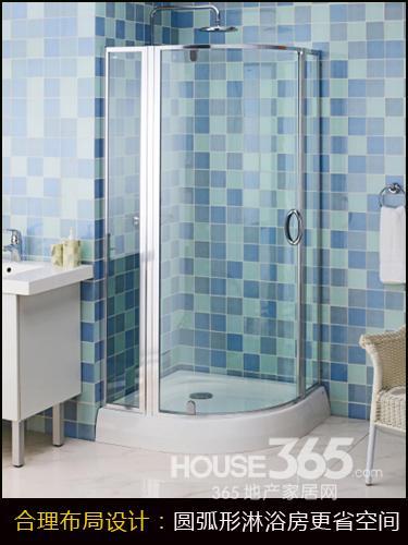①圆弧形淋浴房更省空间;; 小户型卫浴间设计 将节约空间进行到底