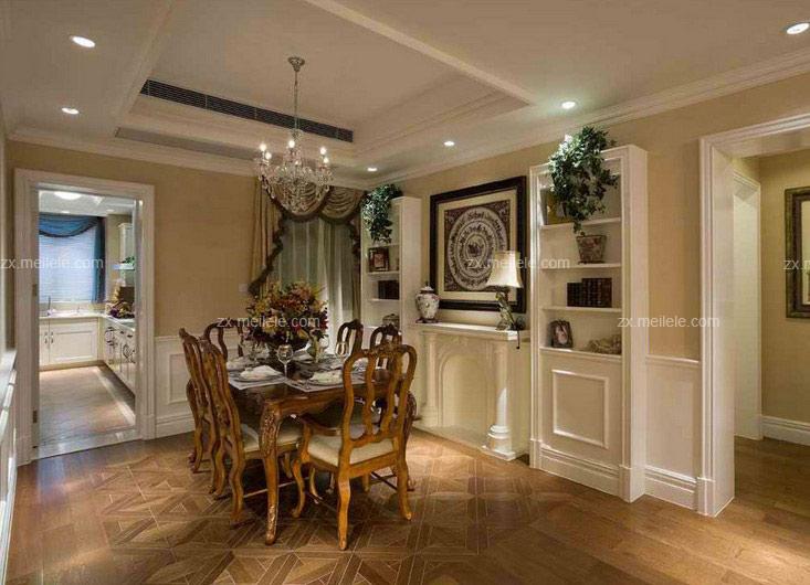 这套美古典风格餐厅装修效果图,看上去十分的具有空间之感,其美式家具精致餐椅设计,又将把美式古典风格发挥得淋漓尽致。